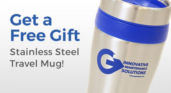 Get a free stainless steel travel mug when you register your Goodway product